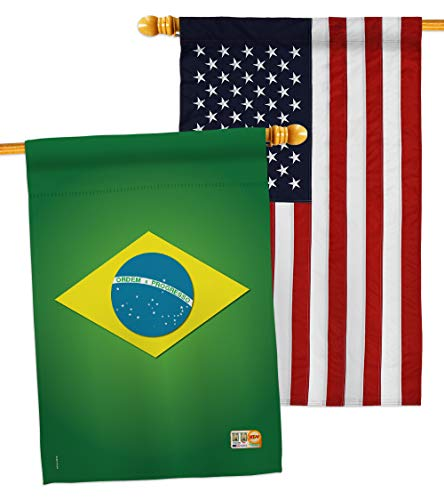 "Breeze Decor HP108090-P3AC Brazil Flags of The World Nationality Impressions Decorative Vertical 28"" x 40"" USA - Embroidery House Pack"