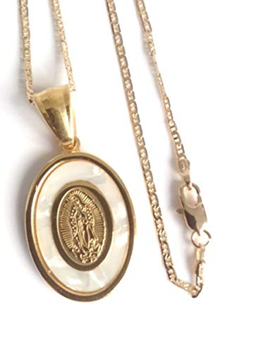 Mother of Pearl Stainless Steel Virgen de Guadalupe Pendant Necklace Gold Plated 18k Chain 17.2 Inches (Regal Stainless)