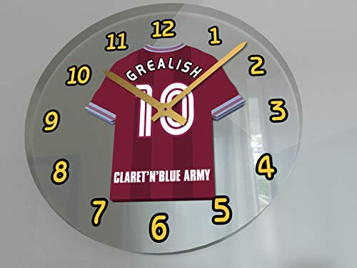 Aston Villa Home Shirt - FanPlastic English Premier League Soccer Wall Clocks - All E P L Team Colours Available - Support Your Team !!! (Aston Villa)