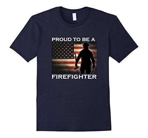 Tee Shirts Fireman (Mens Proud to be a Firefighter T-Shirt Gift for Fireman 2XL Navy)