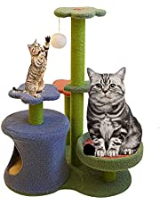 okdeals Cat Climbing Frame,Flower Cactus Cat Tree with Platform,Funny Cat Climber Scratching Post Toy with Ball for Indoor Cats