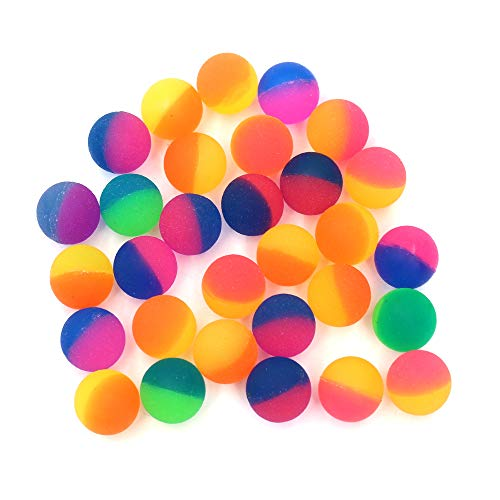 Goodie Gumballs - KisSealed 30 Pieces Jet Bouncy Balls 30mm Bounce Ball Mixed Colour Party Bag Filler Neon Bright Ball