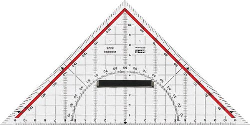 Squadra da disegno, ipotenusa da 25 cm, con indicazioni e scala 180°-1°, linea di 45°, trasparente 4004627416004