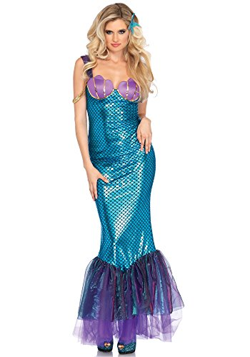 Leg Avenue Women's Sexy Seashell Mermaid Costume, Teal, Medium