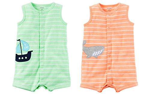 Carters Baby Boys 2 Pack Romper Set Stripe//Crab Newborn