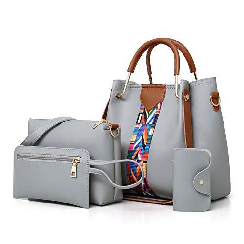 Hot New Women Messenger Bags Tote Handbag Fashion Shoulder Bag Lady PU Leather Casual Female wristlets Set 4 ()