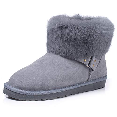 BYUYAN Stiefel Im Herbst und Winter Schnee Stiefel weibliche Stiefel Niedrig-Niedrig Pu-TPR, Rutschfeste Schuhe aus Baumwolle