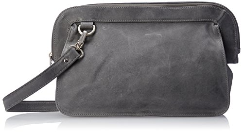 Piel Leather Convertible Handbag/Clutch/Shoulder Bag, Charcoal ()