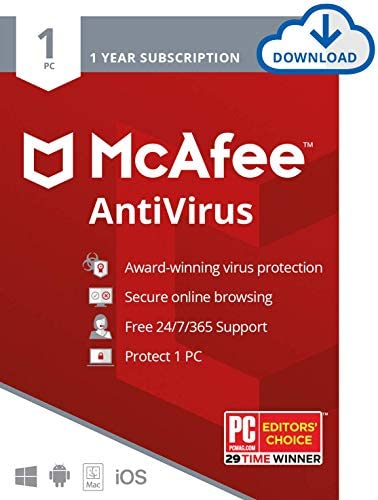 McAfee AntiVirus Protection 2020, 1PC, Internet Security Software, 1 Year – Download Code