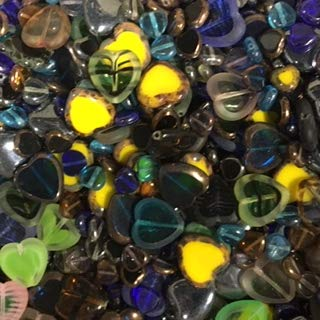 Pressed Czech Glass Mixed Hearts Beads Sizes and Colors by ModeBeads, (Hearts) 1/2 lbs Bag ()