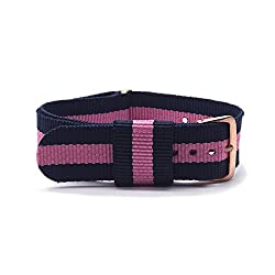 Binzi 18mm Nylon Canvas Rose Gold Buckle Watch Band Strap,Replacement Fabric Band Navy blue-Rose red