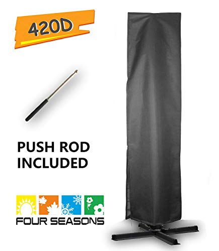 Umbrella Covers,Patio Outdoor Offset Cantilever Umbrella Cover with Push Rod Waterproof Market Parasol Covers Zipper for 9ft to 13ft Outdoor Umbrellas Large