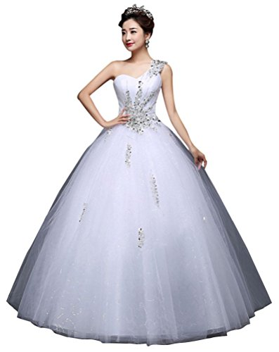 Beauty-Emily One Shoulder Ball Gown Beading Tulle Lace Up...