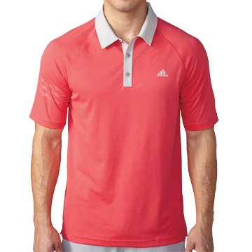 adidas Golf Men's Climachill 3-Stripes Polo Shirt, Shock Red/Stone, X-Large