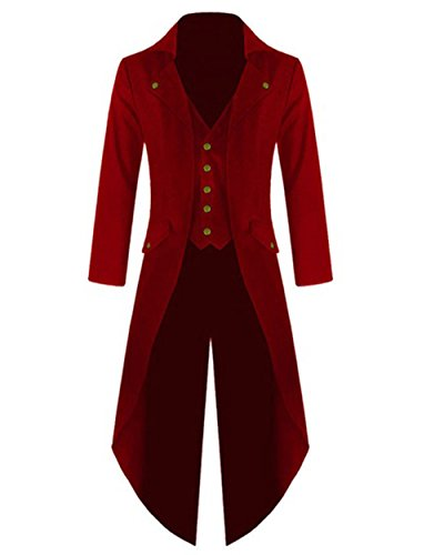 Halloween Coat (Feel Show Mens Steampunk Jacket Vintage Gothic Tailcoat Halloween)
