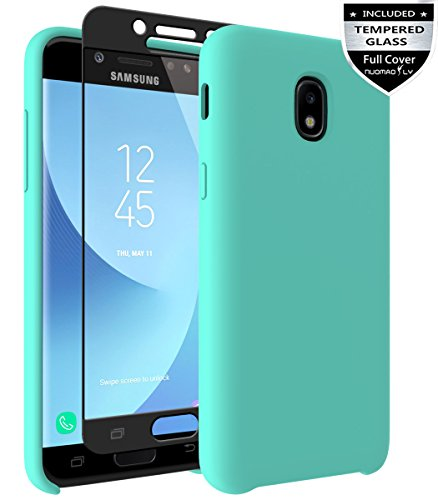 18/Express Prime 3/J3 V 3rd Gen/J3 Star/J3 Orbit/J3 Achieve/J3 Prime 2/Amp Prime 3 Case with [Tempered Glass Screen Protector] Nuomaofly Liquid Silicone Gel Rubber Case (Mint) ()