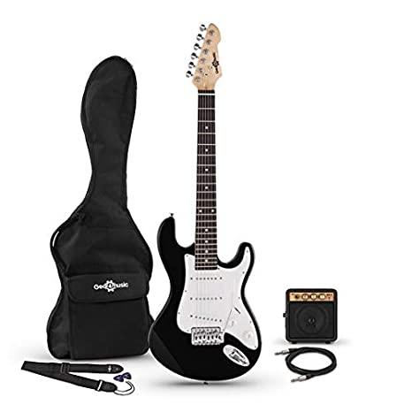 Guitarra Electrica LA 3/4 + Mini Amplificador - Negro: Amazon.es ...