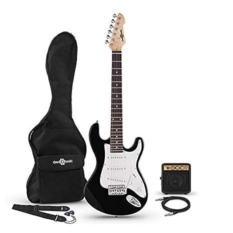 Guitarra Electrica LA 3/4 + Mini Amplificador - Negro: Amazon.es: Instrumentos musicales