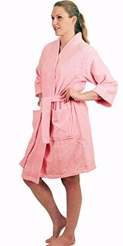 - NDK New York Women's Terry Cloth Short Robe, Pink L/XL