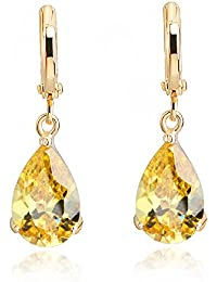 Teardrops Dangle Earrings with Yellow Simulated Citrine Zirconia Crystals18 ct Gold Plated for Women