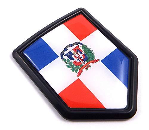 Dominican Republic Flag Black Shield Car Bike Decal Crest Emblem 3D Sticker