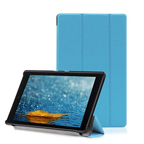 Amazon Fire HD 8 Tablet Case, Buruis Premium Leather Shockproof fire 8 Case Trifold Stand Cover with Auto Wake Sleep for Kindle Fire HD 8 Tablet, (Light Blue)