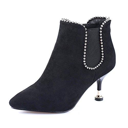 black 7Cm Rivetti Stivali Un Scarpe Stivali Sexy Con Combaciano Invernali Stivali Martin Le KHSKX COgSqWF
