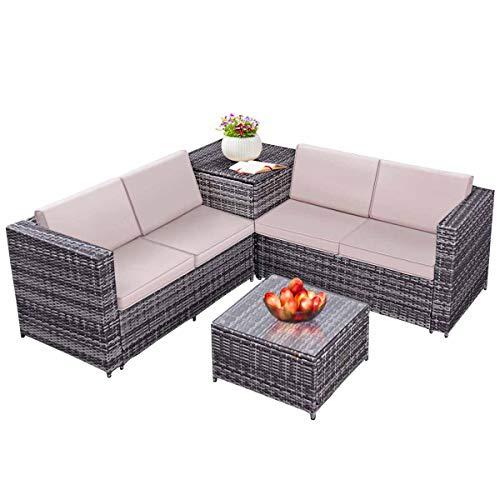 Tangkula 4PCS Patio Sofa Set Wicker Rattan Outdoor Garden Lawn Cushioned Seat with Storage Conversation Set (Mix Grey) (Rattan Furniture Storage)