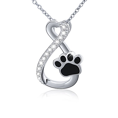 Sterling Silver Forever Love Heart Puppy Paw Pendant Necklace for Women