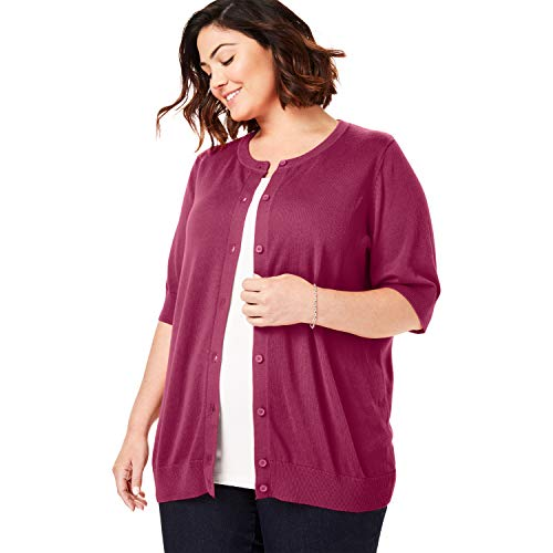 Woman Within Women's Plus Size Perfect Elbow-Length Sleeve Cardigan - Deep Cranberry, 2X -