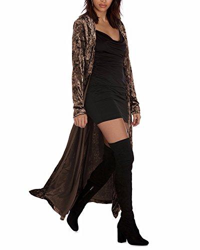 Cardigan Vintage Classic (LANISEN Women's Vintage Long Sleeve Casual Full Length Velvet Cardigan Coat Coffee M)