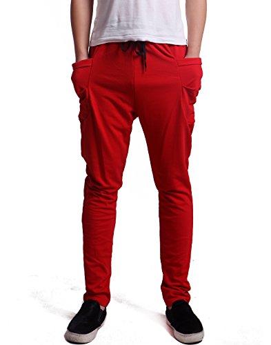 HDE Men's Drop Crotch Active Sport Harem pants Casual Running Jogger Sweatpants (Red, Large)
