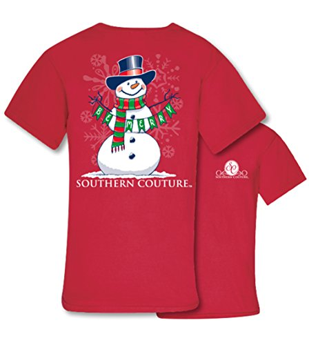 Southern Couture SC Classic Be Merry Snowman Womens Classic Fit T-Shirt - Red, 2X-Large