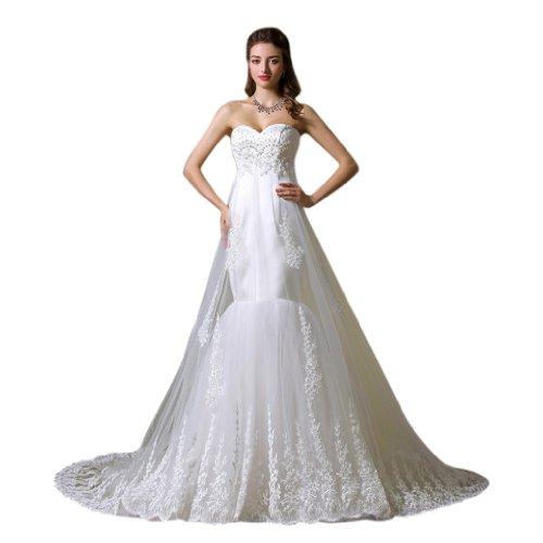 Tuell Schleppe Trompete Damen Kleidungen Dearta Ausschnitt Brautkleider Herz Applikation Hof Perlen Mit Weiß Meerjungfrau qp8Bw0