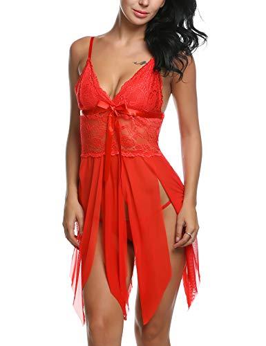 Avidlove Lingerie for Women Lace Babydoll Sexy Chemise V Neck Mesh Sleepwear Red Medium