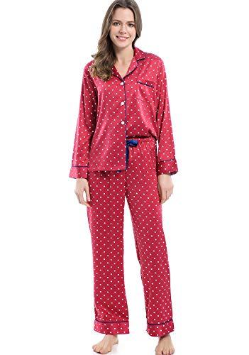 Serenedelicacy Women's Silky Satin Pajamas, Button Up Long Sleeve PJ Set Sleepwear Loungewear (Medium / 8-10, Dot (Claret Navy))