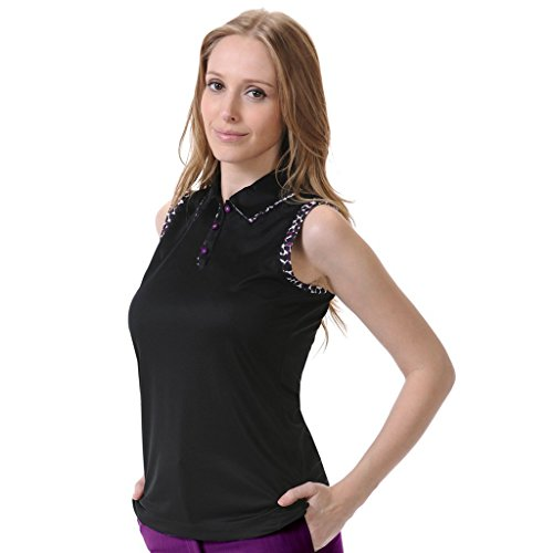 - Monterey Club Ladies' Dry Swing Fitted Animal Print Contrast Solid Sleeveless Shirt #2639 (Black/Eggplant, Small)