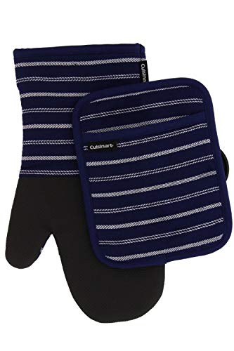 Cuisinart Neoprene Oven Mitts and Potholder Set -Heat Resistant Oven Gloves to Protect Hands and Surfaces with Non-Slip Grip, Hanging Loop-Ideal for Handling Hot Cookware Items, Twill Stripe Navy Aura