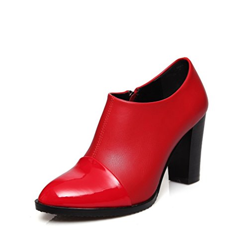 AllhqFashion Damen Spitz Zehe Hoher Absatz Blend-Materialien Gemischte Farbe Pumps Schuhe Rot