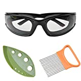 Onion Goggles, Cataixy Onion Holder Set Tear Free Anti Fog Onion Glasses, Stainless Steel Onion Holder with Peeling Vegetable Leaf. Must Have Kitchen Gadget Set
