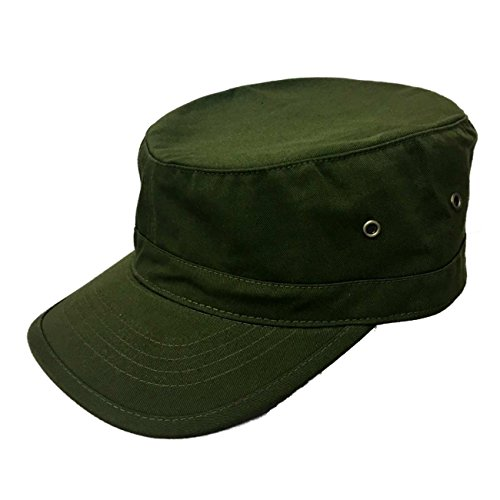 Military Style Solid Blank GI Flat Top Cadet Cotton Castro Patrol Fitted Cap Hat (Olive) -