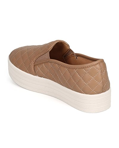 Women Leatherette Toe Breckelles Quilted On Sneaker Platform Natural Round Slip Dh58 5PPqRg