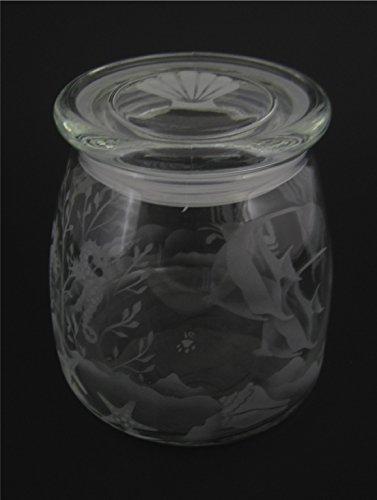 Hand Etched Vibe Storage Jar Sandblasted (Sand Carved) Gl...