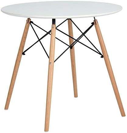 Mesa redonda, diámetro 80 cm, blanca, madera aglomerada MDF ...
