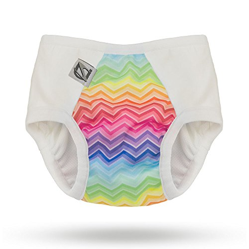 Pull-on Undies 2.0 Stretchy Waterproof Potty Training Pants and Toilet Training Underwear (Medium, Rainbow Bright)