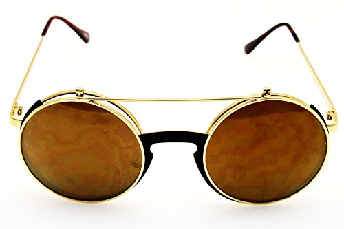 V135-vp Style Vault Round Flip up Django Metal Sunglasses (HURV Gold-Brown Mirror, uv400)