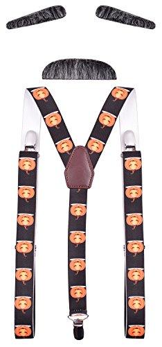CEAJOO Men's Suspenders Novelty Adjustable Elastic Pumpkin Orange