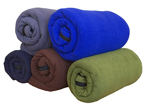Fleece Nylon Blanket (Microfiber Fleece Zippered Sleeping Bag Liner or Blanket - Warm Cozy Inner Sheet for Outdoor and Home with Carry Storage Bag (Dark Blue))