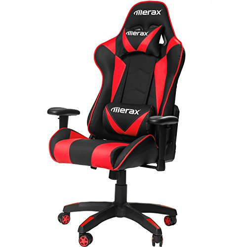 Merax Gaming Chair High Back Computer Chair Ergonomic Design Racing Chair (Red) by Merax