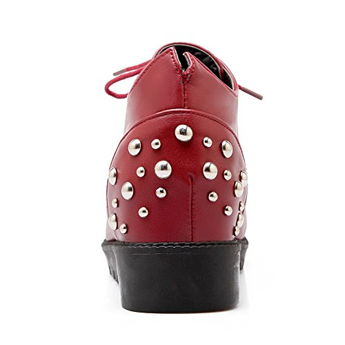 Amoonyfashion Dames Kanten Pu Ronde Gesloten Neus Kitten Hakken Stevige Pumps-schoenen Rood